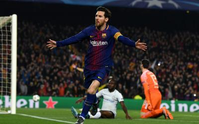 Lionel Messi celebration after scoring Barcelona's third goal CREDIT: GETTY IMAGES