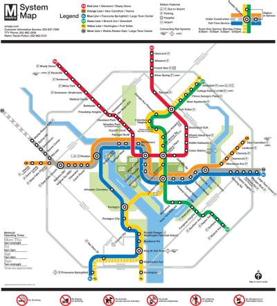 Washington Metropolitan Area metro map 2016