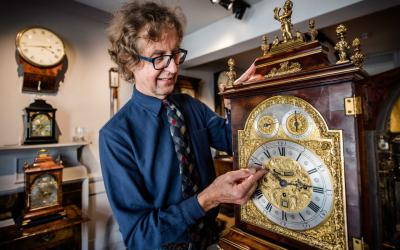 Antique clock seller Howard Walwyn, Kensington, London