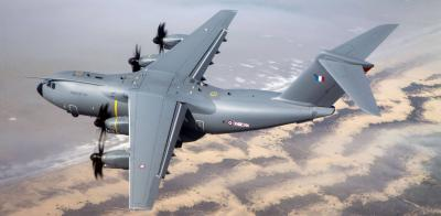 The Airbus A400M military transport plane in flight