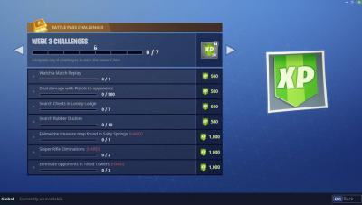 Battle pass challenges user interface