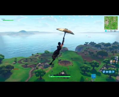 Fortnite player parachute umbrella
