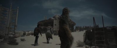 Han Solo and Chewbacca walking away