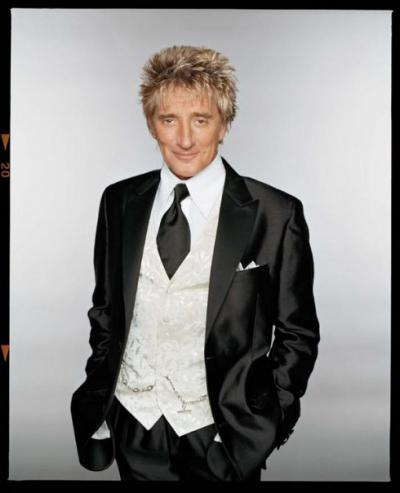 Rod Stewart, black and white tux