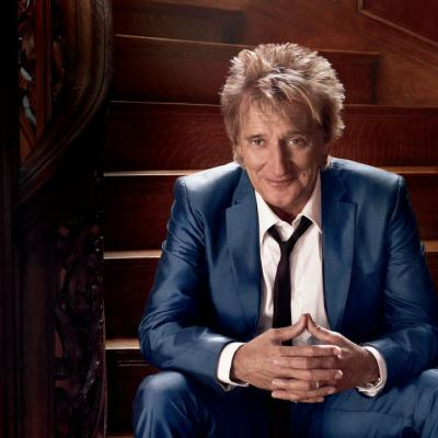 Rod Stewart, blue suit, staircase