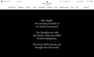 Kate Spade website tribute. The visionary founder of our brand, has passed...