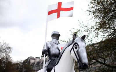 15-foot high statue of St George astride a horse at Wellington Arch in London
