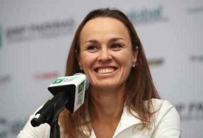 Martina Hingis during her final press conference last week in Singapore. (Photo: Matthew Stockman/Getty Images)