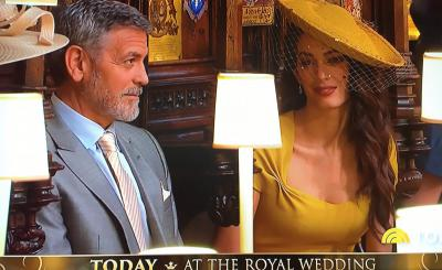 George and Amal Clooney at the royal wedding