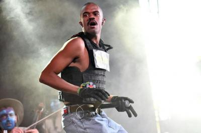 Singer Ameer Vann of the BROCKHAMPTON collective performs on the Mojave stage Coachella April 14, 2018.