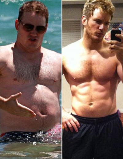Chris Pratt, before and after picture