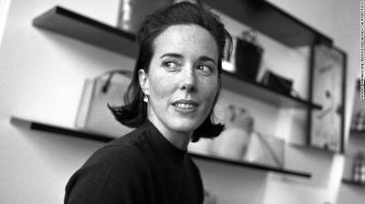 Fashion designer Kate Spade being interviewed in her New York showroom.